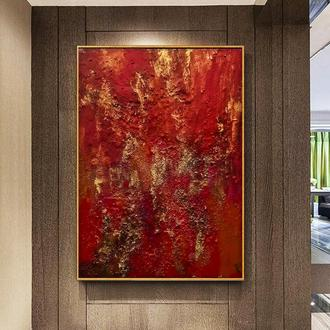 """Червона абстрактний живопис на дереві """"Червона планета"""""""