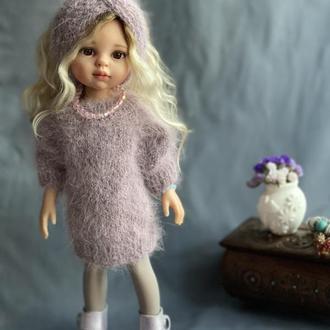 Ангоровый длинный свитер для куклы Паола Рейна, Вязаная одежда Paola Reina
