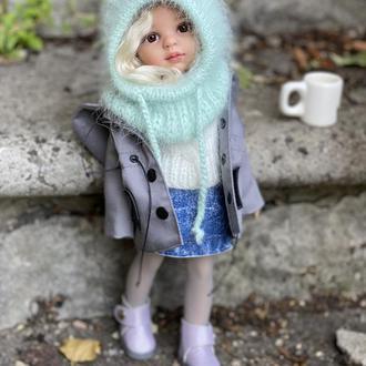 Вязаный капор-капюшон из пуха норки для куклы Паола Рейна, Одежда Paola Reina
