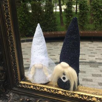 Парочка скандинавских свадебных гномов, жених и невеста , интерьерная игрушка ручной работы