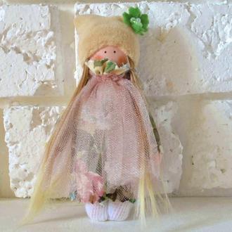 Маленькая куколка Тильда текстильная игрушка для девочки