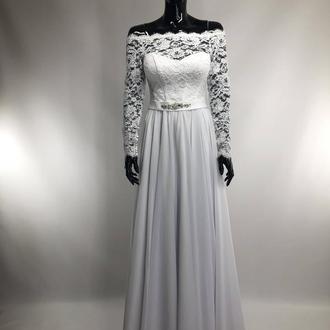 Весільна сукня А силуету білого кольору 44 і 48 розміру з гіпюровим рукавом і шифонової спідницею !!