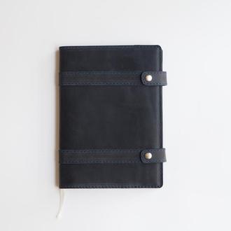 Блокнот в кожаной обложке, гравировка логотипа, ежедневник