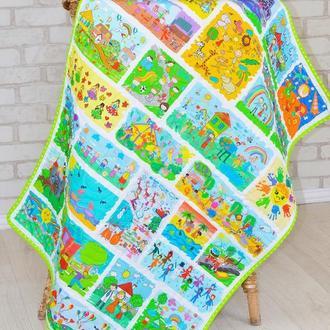 Стеганый эко плед-одеяло Loskutini  с конопляным наполнителем «Детские рисунки»