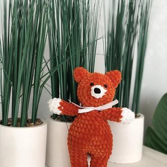 Плюшевая игрушка лисичка. Вязаная детская игрушка