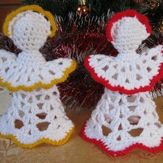 Ангел - новогоднее украшение, елочная вязаная игрушка, ручная авторская работа