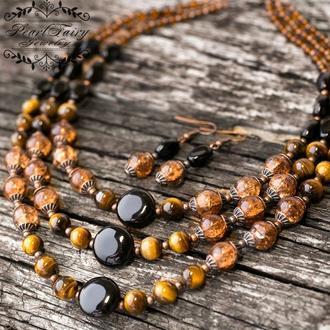 Комплект з натуральних каменів кольє та сережки