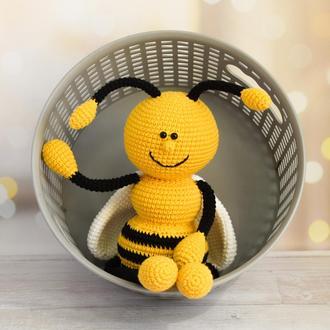 Пчёлка с длинными лапками для самых маленьких деток. Подарок ребёнку. Эко-игрушка.