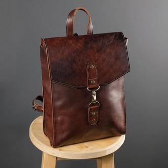 """Женский кожаный рюкзак """"Рига"""", кожа итальянский краст, цвет вишня"""