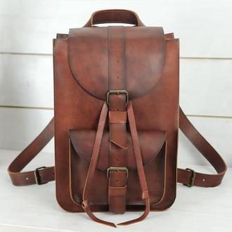 """Женский кожаный рюкзак """"Флоренция"""", кожа итальянский краст, цвет вишня"""