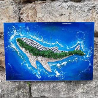 Авторская интерьерная Картина Остров Кит море морская лофт подарок ребёнку на праздник свято