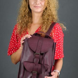 """Жіночий шкіряний рюкзак """"Флоренція"""", шкіра італійський краст, колір бордо"""