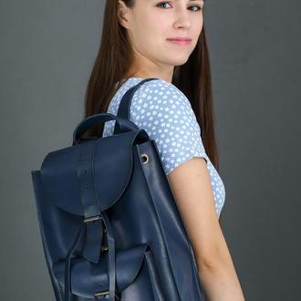 """Женский кожаный рюкзак """"Флоренция"""", кожа итальянский краст, цвет синий"""