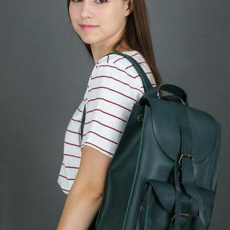 """Женский кожаный рюкзак """"Флоренция"""", кожа итальянский краст, цвет зеленый"""