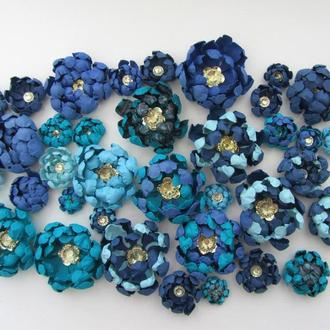 Бумажные цветы для скрапбукинга, сине-голубые