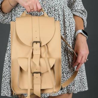 """Женский кожаный рюкзак """"Флоренция"""", кожа Grand, цвет бежевый"""