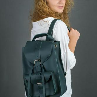 """Женский кожаный рюкзак """"Флоренция"""", кожа Grand, цвет зеленый"""