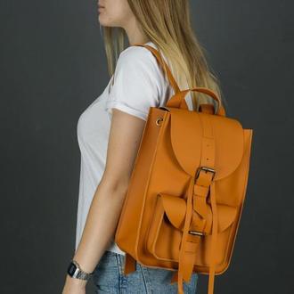 """Жіночий шкіряний рюкзак """"Флоренція"""", шкіра Grand, колір бурштин"""