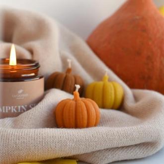 """Набір натуральних свічок """"Гарбуза""""(3 шт). Свічки тиковкі, свічка гарбуз."""