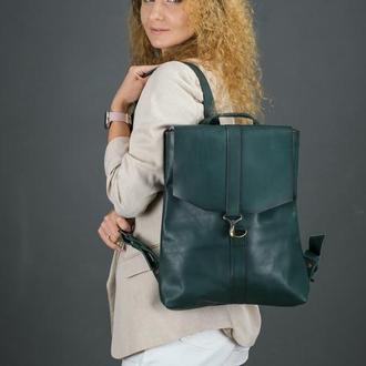 """Женский кожаный рюкзак """"Монако"""", кожа итальянский краст, цвет зеленый"""