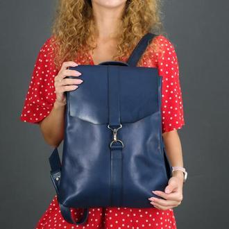"""Женский кожаный рюкзак """"Монако"""", кожа итальянский краст, цвет синий"""