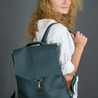 """Женский кожаный рюкзак """"Монако"""", кожа Grand, цвет зеленый"""