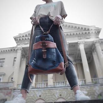 Жіночий Рюкзак-трансформер з натуральної шкіри  і канвасу (темно-синій + коньячний)