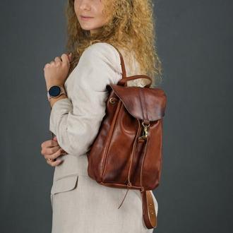 """Женский кожаный рюкзак """"Киев"""", размер мини, кожа итальянский краст, цвет вишня"""