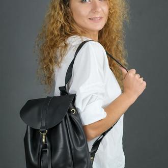 """Женский кожаный рюкзак """"Киев"""", размер мини, кожа итальянский краст, цвет черный"""