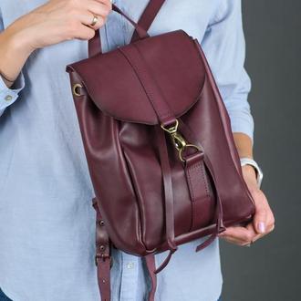 """Женский кожаный рюкзак """"Киев"""", размер мини, кожа итальянский краст, цвет бордо"""