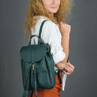"""Женский кожаный рюкзак """"Киев"""", размер мини, кожа итальянский краст, цвет зеленый"""