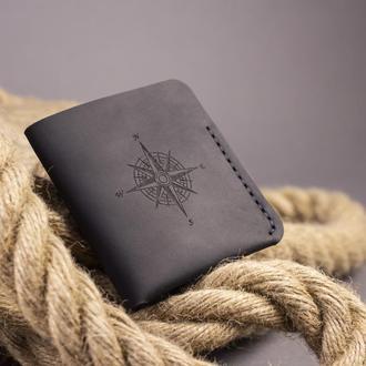 Дизайнерський чоловічий гаманець Triplet в стилі мінімалізм (Подарунок чоловікові, хлопцю, чоловікові) - Чорний