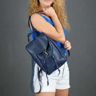 """Женский кожаный рюкзак """"Киев"""", размер мини, кожа итальянский краст, цвет синий"""