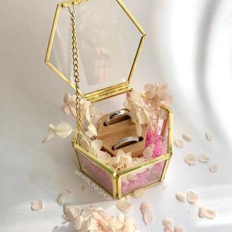 Стеклянная коробочка шкатулка для колец с сухоцветами