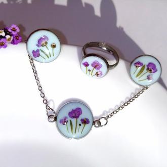 Набір прикрас з квітами з епоксидної смоли, браслет, сережки, сережки, кільце