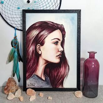 Девушка с фиолетовыми волосами, акварельная иллюстрация