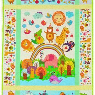Лоскутной эко плед-одеяло Loskutini  с конопляным наполнителем «Сказочные животные»