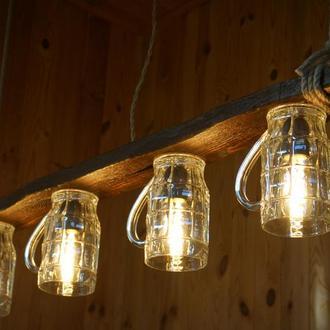 Деревянная подвесная лампа из пивных кружек, светильник из натурального дерева