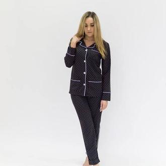 Стильная женская пижама рубашка + штаны черная в горох