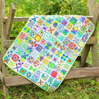 Стеганый эко плед-одеяло Loskutini  с конопляным наполнителем «Крестики-нолики»
