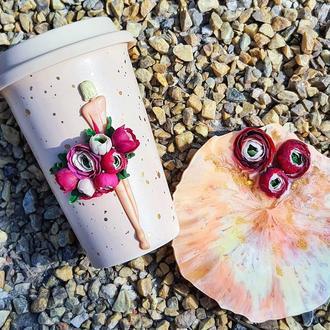 Чашка и подставка . Декор из полимерной глины и эпоксидная смола