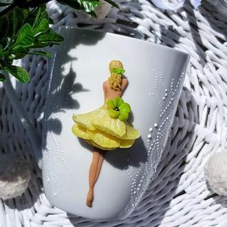 Авторская чашка с декором из полимерной глины