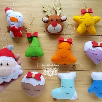 Елочные новогодние игрушки из фетра