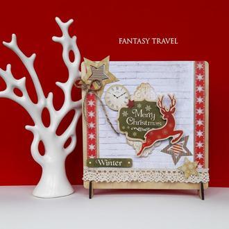 """Новогодняя открытка из дерева """"006NG"""" (в коробке)"""