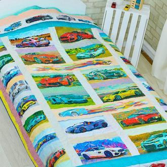 Стеганое эко покрывало-одеяло Loskutini с конопляным наполнителем «Суперкарс»
