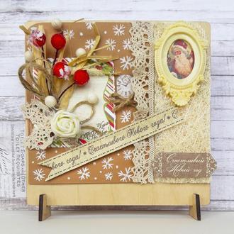 """Новогодняя открытка из дерева """"008NG"""" (в коробке)"""