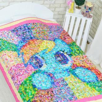 Лоскутное стеганое эко покрывало-одеяло Loskutini с конопляным наполнителем «Пони Мозаика»