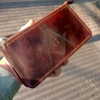Шкіряний клатч-гаманець