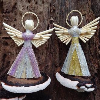 Набор соломенных рождественских ангелов ручной работы.Украинский оберег