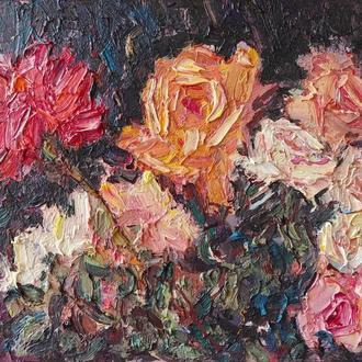 """Авторська картина маслом """"Троянди квітнуть"""""""